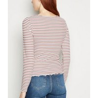 Rust Stripe Frill Trim Long Sleeve T-Shirt New Look
