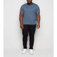 Mens Plus Size Navy Stripe Crew Neck T-Shirt New Look