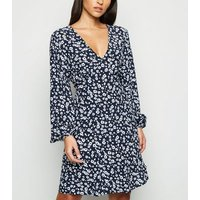 Blue Floral Empire Long Sleeve Dress New Look