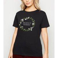 Petite Black Believe In Yourself Slogan T-Shirt New Look