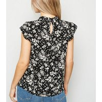 Petite Black Ditsy Floral High Neck Frill Top New Look