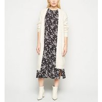 Petite Black Floral Split Side Midi Dress New Look