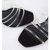 Black Suedette Diamante Clear Strap Mules New Look