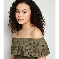 Girls Khaki Broderie Bardot Top New Look