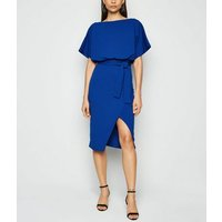 Missfiga Blue Wrap Tie Waist Batwing Dress New Look
