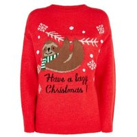 Red Lazy Sloth Slogan Christmas Jumper New Look
