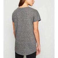 Dark Grey Marl Textured T-Shirt New Look