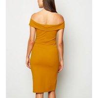 Missfiga Mustard Bardot Wrap Bodycon Dress New Look
