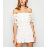 Cameo Rose Cream Lace Bardot Playsuit New Look