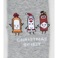 Men's Grey Christmas Spirit Slogan Socks New Look