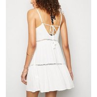 White Crochet Panel Swing Beach Dress New Look