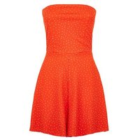 Red Spot Bandeau Playsuit New Look