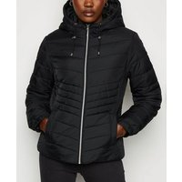 Black Lightweight Hooded Puffer Jacket New Look