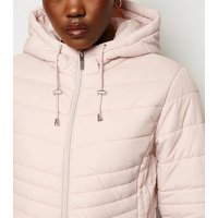 Pale Pink Lightweight Hooded Puffer Jacket New Look