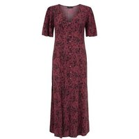Burgundy Ditsy Floral Empire Midi Dress New Look