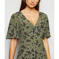 Green Ditsy Floral Empire Midi Dress New Look