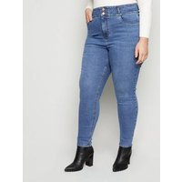 Curves Blue 'Lift & Shape' High Waist Yazmin Skinny Jeans New Look