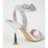 Silver Glitter 2 Part Slim Flared Heels New Look