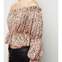 Brown Satin Spot Print Ruffle Bardot Top New Look