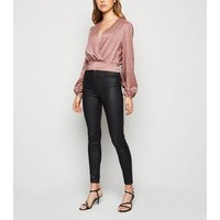 Pale Pink Satin Spot Jacquard Crop Top New Look