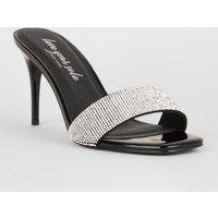 Black Diamante Strap Square Toe Stiletto Mules New Look