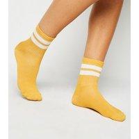 Mustard Sports Stripe Socks New Look