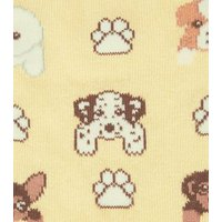 Yellow Dogs and Paws Socks New Look
