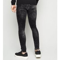 Black Washed Super Skinny Stretch Jeans New Look