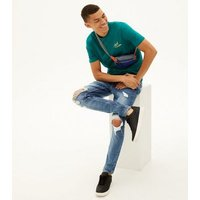 Men's Blue Ripped Slim Stretch Jeans New Look