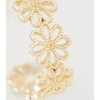 Gold Flower Mini Huggie Hoop Earrings New Look