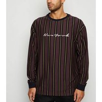 Burgundy Stripe New York Slogan T-Shirt New Look