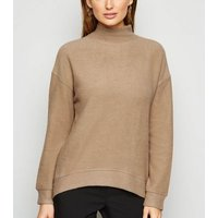 Camel Brushed High Neck Jumper New Look