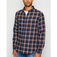 Navy Check Long Sleeve Cotton Shirt New Look