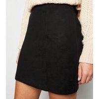Black Suedette Seamed Mini Skirt New Look
