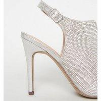 Silver Shimmer Diamante Peep Toe Stilettos New Look Vegan