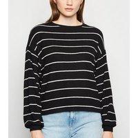Black Stripe Brushed Fine Knit Jumper New Look
