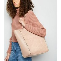 Pale Pink Leather-Look Stud Trim Tote Bag New Look Vegan