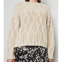 Carpe Diem Stone Cable Knit Jumper New Look