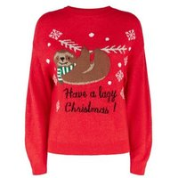 Petite Red Sloth Slogan Christmas Jumper New Look