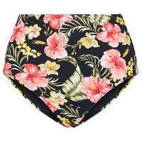 Black Floral High Waist Bikini Bottoms New Look