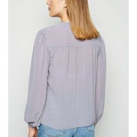 Pale Grey Chiffon Spot Frill Neck Blouse New Look