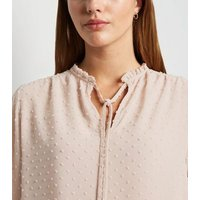 Pale Pink Chiffon Spot Frill Neck Blouse New Look