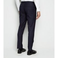 Mens Navy Grid Check Suit Trousers New Look