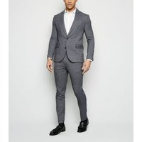 Grey Textured Suit Trousers New Look
