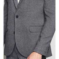Grey Textured Suit Jacket New Look