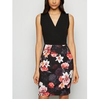 Mela Black Floral Wrap Front Mini Dress New Look