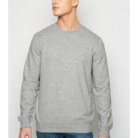 Grey Marl Plain Crew Sweatshirt New Look