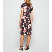 Mela Black Floral Belted Wrap Midi Dress New Look