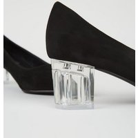Black Suedette Clear Block Court Shoes New Look