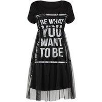 Cameo Rose Black Mesh Overlay Slogan Dress New Look